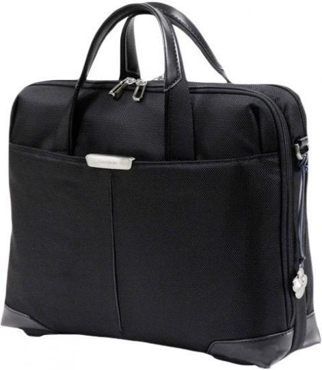 Дамска бизнес чанта S-Oulite за 15,6' инча лаптоп в черно с елементи от естествена кожа