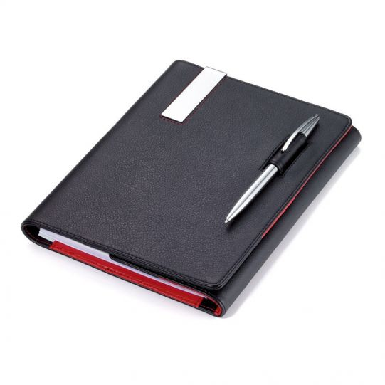 Кожена папка A5 с тефтер и химикалка TROIKA - RED PEPPER