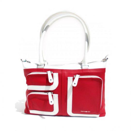 Средна вертикална дамска чанта Park Icon в ярко червено и бяло