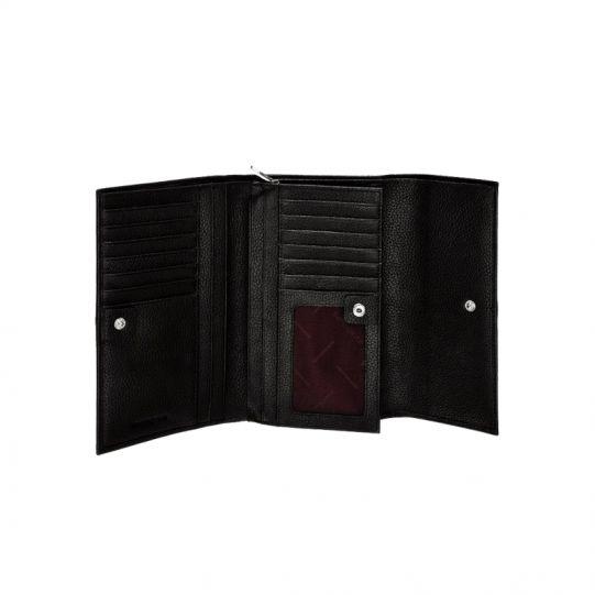 Стилен черен дамски портфейл от естествена кожа, модел F66.09.304
