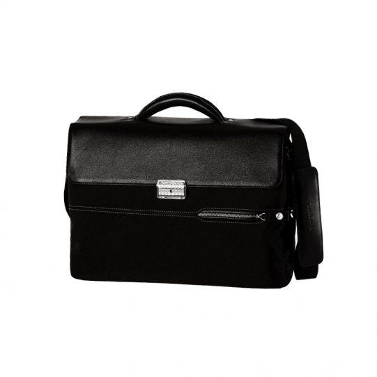 Бизнес чанта Perseo от плат и естествена кожа с 2 прегради, за 15.4 инча лаптоп