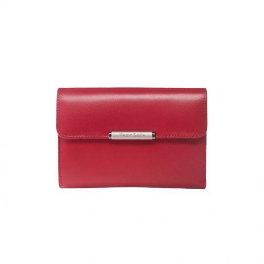 Дамски червен портфейл от естествена кожа 12 отделения за карти