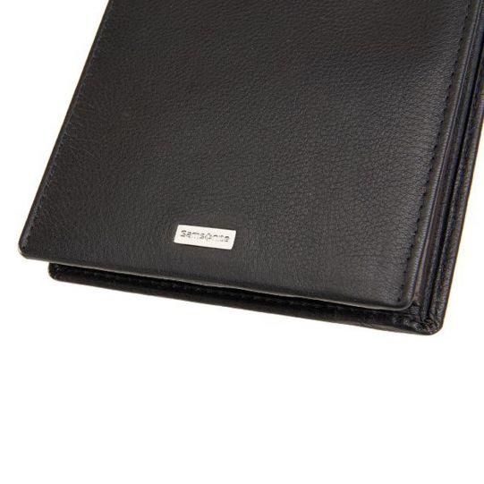 Мъжки портфейл Samsonite, естествена черна кожа