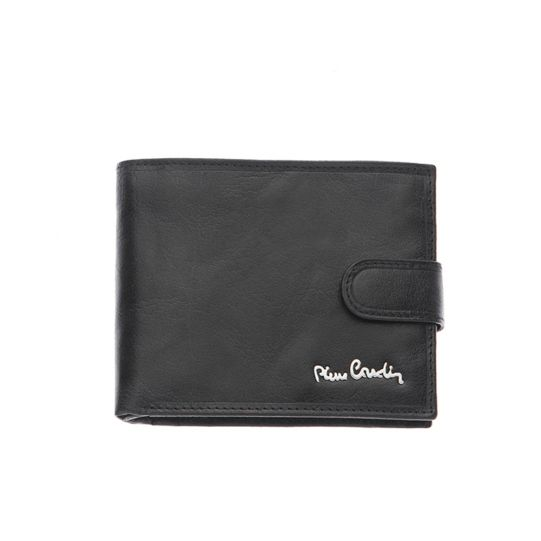 Малък мъжки портфейл Pierre Cardin, черен гланц