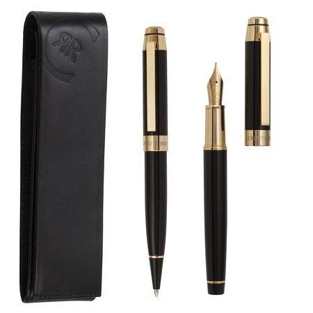 Комплект писалка, химикалка и кожен калъф Cerruti Heritage Gold