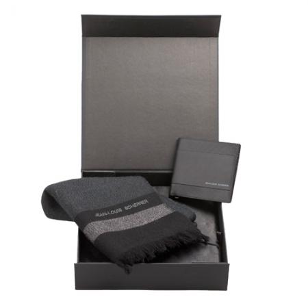 Jean Louis Scherrer Комплект Фин вълнен шал и портфейл от естествена кожа Black Diamond