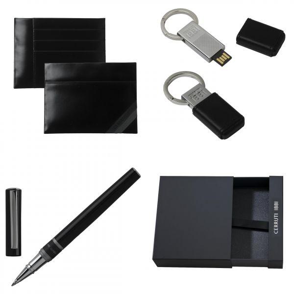 Cerruti Комплект Портфейл за карти, ключодържател USB и Химикалка