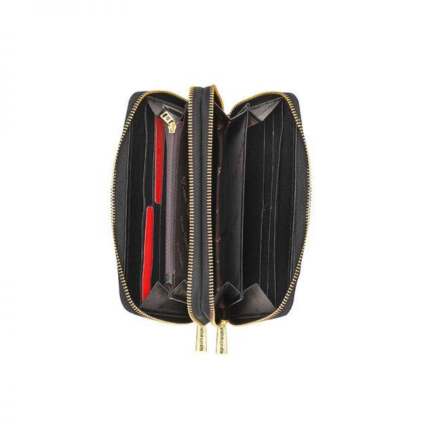 Дамски портфейл PIERRE CARDIN - черен, с цип