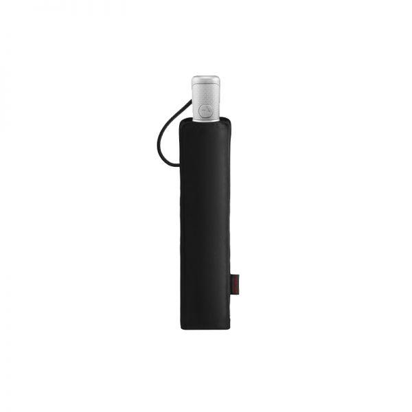 Тройно сгъваем черен автоматичен чадър с диаметър 140 см