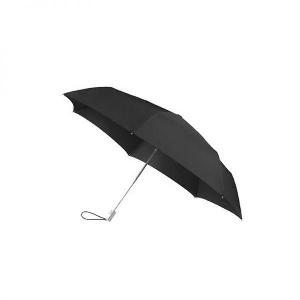 Черен четворно сгъваем автоматичен мини-чадър