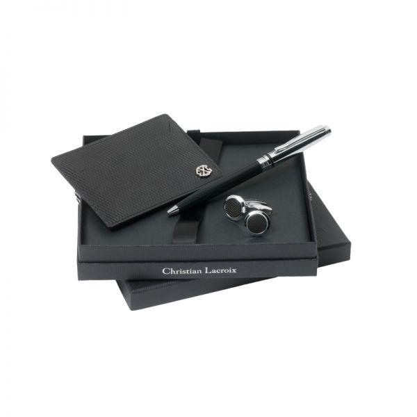 Christian Lacroix Комплект Ръкавели + кожен портфейл за карти + химикалка