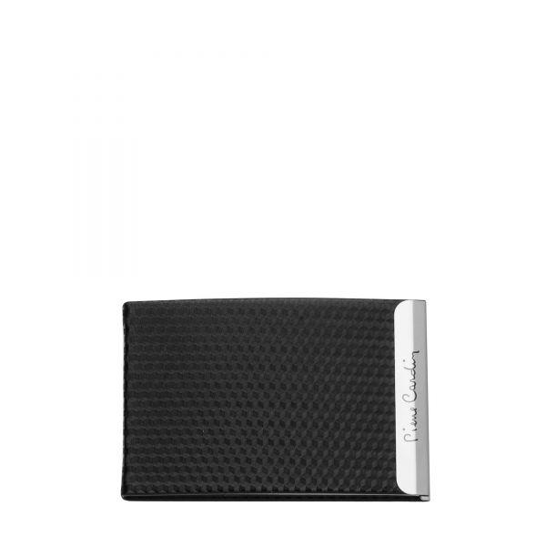 Визитник Pierre Cardin - Carbon, с магнитно затваряне, черен