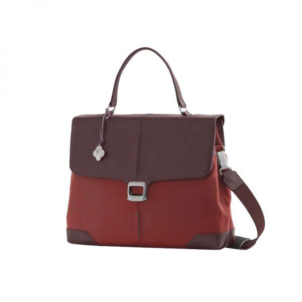 """Дамска бизнес чанта 14.1"""" S-OULITE в червен цвят и елементи от кожа"""
