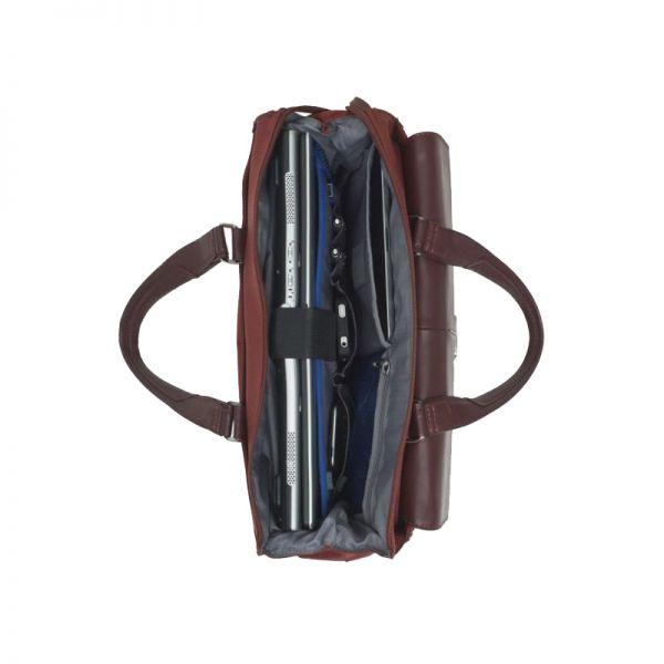 """Дамска бизнес чанта 15.6"""" S-OULITE в червен цвят и елементи от кожа"""