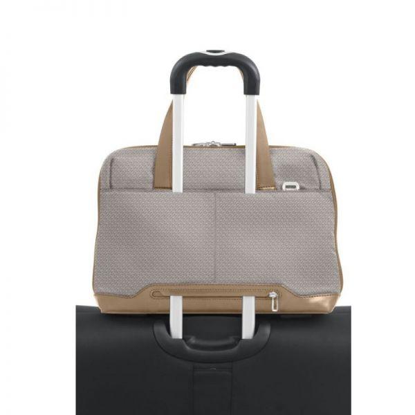 """Дамска бизнес чанта 14.1"""" Samsonite S-OULITE в сив цвят и елементи от кожа"""