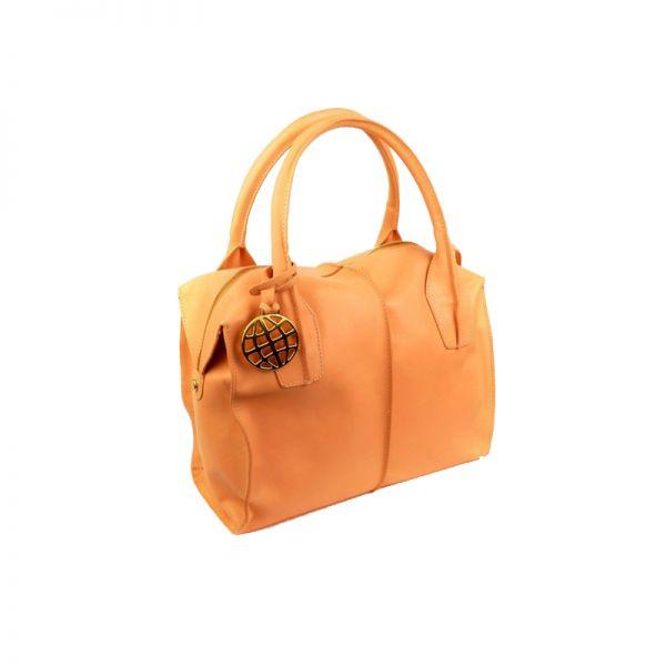 Дамска чанта Dumond от естествена кожа в нежно оранжев цвят