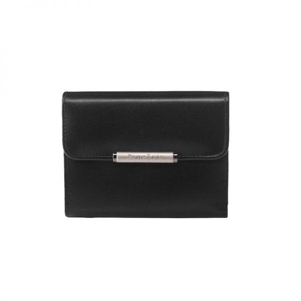 Дамски черен портфейл Samsonite от естествена кожа с отделения за карти U88.09.302