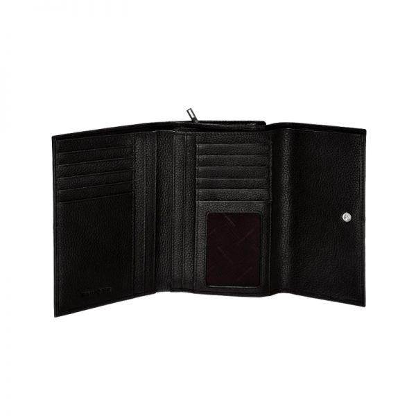 Стилен дамски портфейл от естествена кожа черен цвят