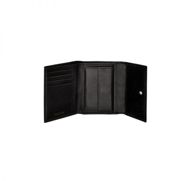 Дамски черен портфейл от естествена кожа, модел F68.09.301