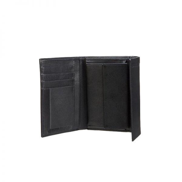 Стилен черен дамски портфейл от естествена кожа с 4 отделения за карти