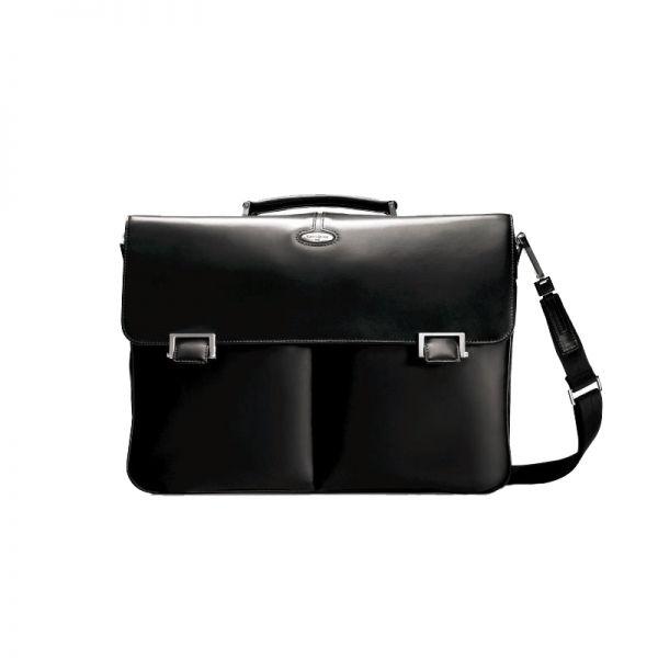 Черна чанта за 15.4 инча лаптоп от фина напа кожа размер M Integra Leather
