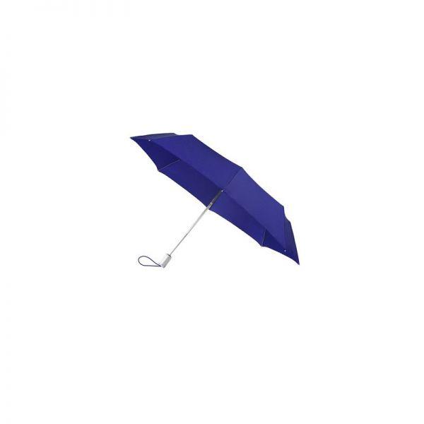 Тройно сгъваем син автоматичен плосък чадър диаметър 106 см