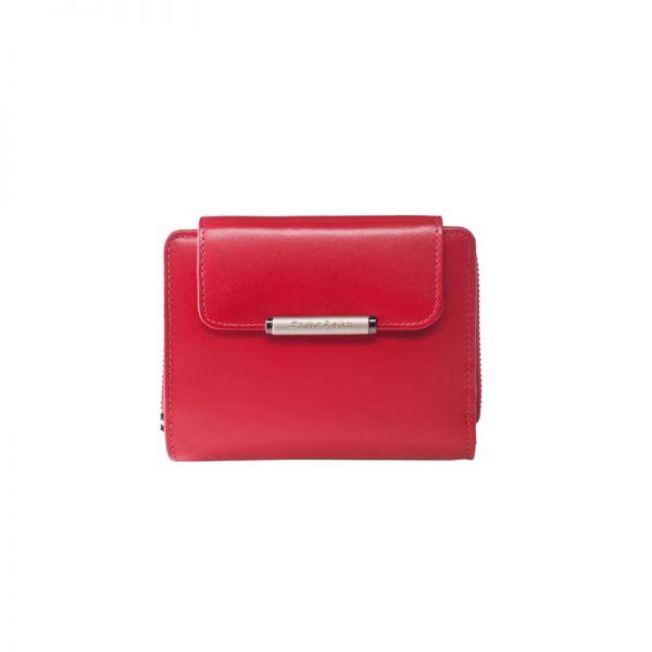 Дамски червен портфейл от естествена кожа с 8 отделения за карти