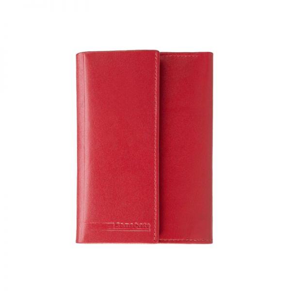 Стилен червен дамски портфейл от естествена кожа с 4 отделения за карти