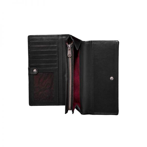Черен дамски портфейл от естествена кожа