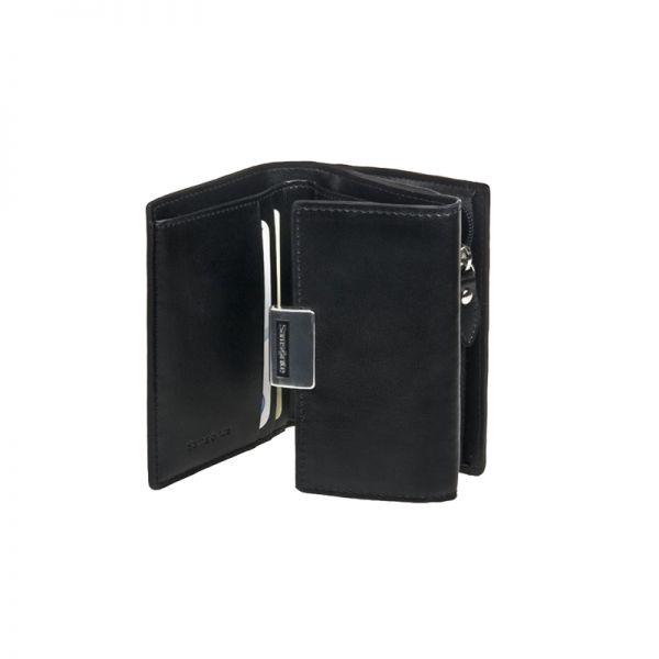 Стилен дамски черен портфейл от естествена кожа