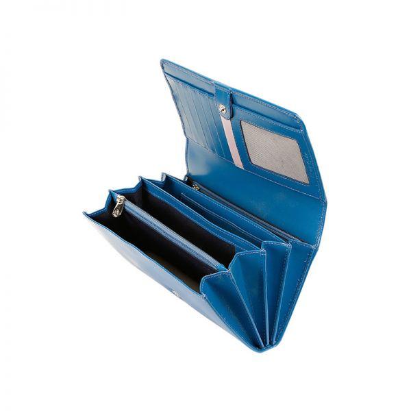 Дамски портфейл от естествена кожа Samsonite, син цвят