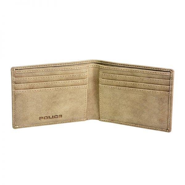 Комплект мъжки портфейл и ключодържател Police Feidal, бежов