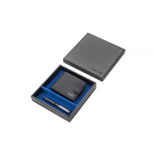 Мъжки комплект портфейл и колан SILVER FLAME