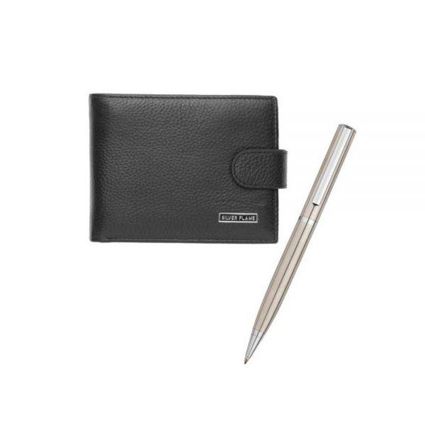 Комплект портфейл и химикалка SILVER FLAME