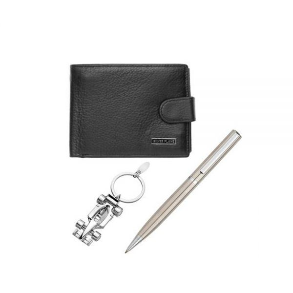 Комплект портфейл, ключодържател и химикал SILVER FLAME