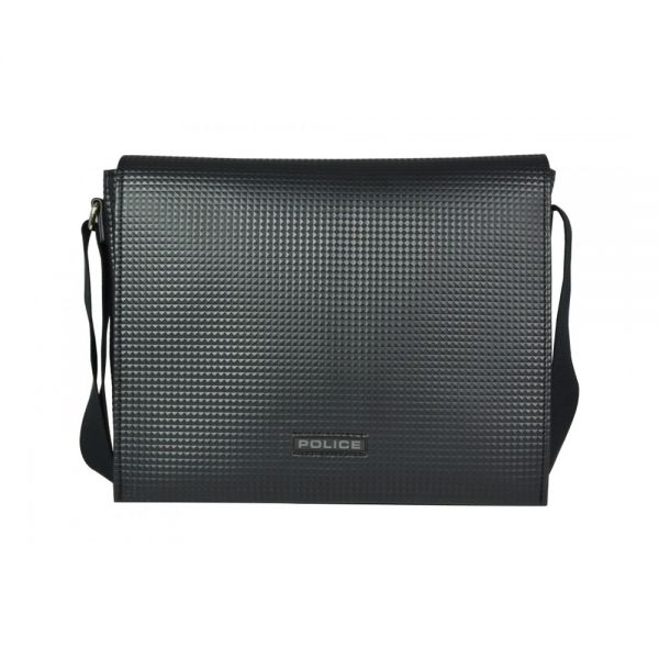Кожена чантичка за през рамо – POLICE PYRAMID, черна