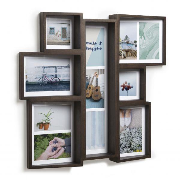 """UMBRA Колаж от рамки за снимки """"EDGE MULTI WALL"""" - цвят кафяв - за 11 снимки"""