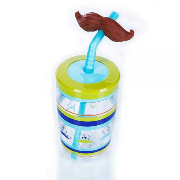 Детска бутилка Bueno Funny Straw, синя с мустак