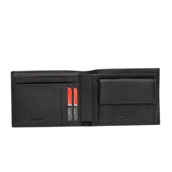 Мъжки портфейл Pierre Cardin, едър черен шагрен