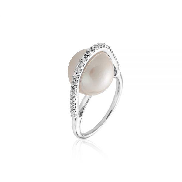 Пръстен бялa перлa