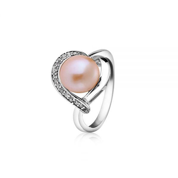 Пръстен сърце розова перла