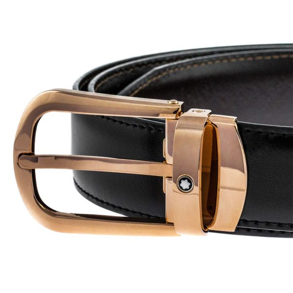 Кожен колан Montblanc Black/Brown & Gold Buckle