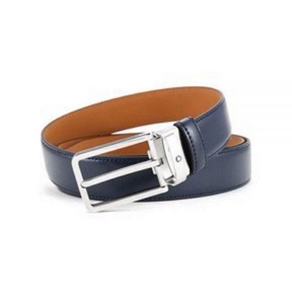 Кожен колан Montblanc Blue & Silver Buckle