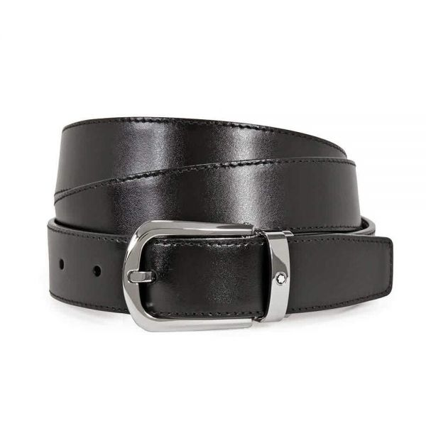 Кожен колан Montblanc Black/Brown & Silver Buckle