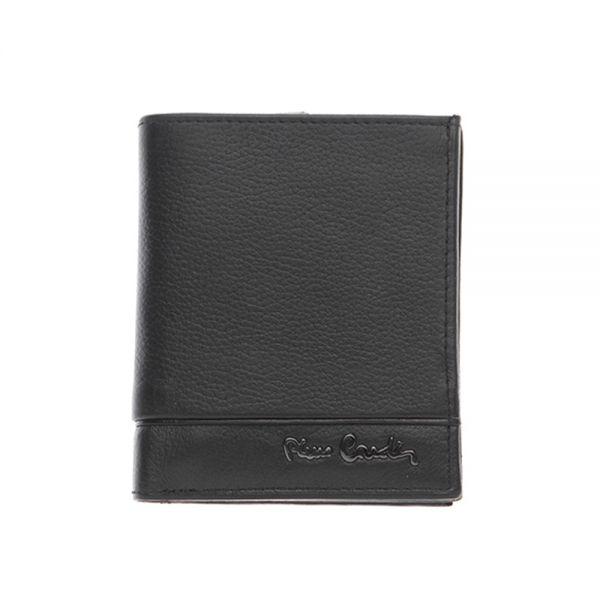 Малък мъжки портфейл Pierre Cardin, черна черта - вертикален