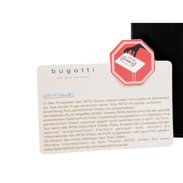 Кожен портфейл Bugatti Romano, RFID 10CC, естествена кожа, черен
