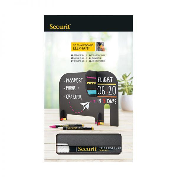 Черна дъска 3D слонче Securit
