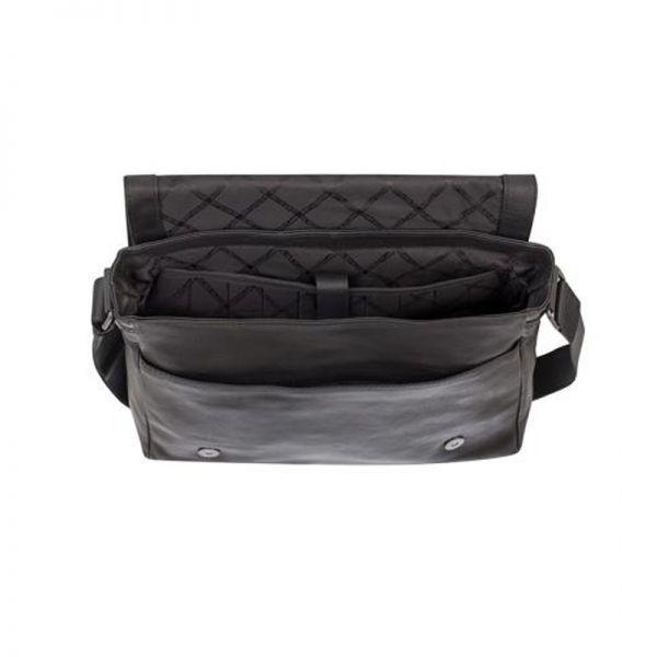 Черна мъжка чанта  с цип RIO, Silver Flame