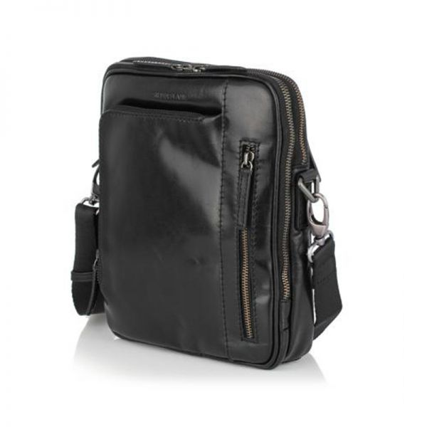 Мъжка чанта черна OILY DIANA, Silver Flame