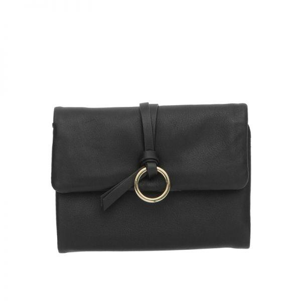 Черно дамско портмоне ROSSI, с червена лента